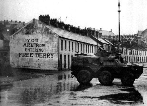 Derry-Londonderry, Northern Ireland - Free Derry Corner as it was - Belfast Airport car hire