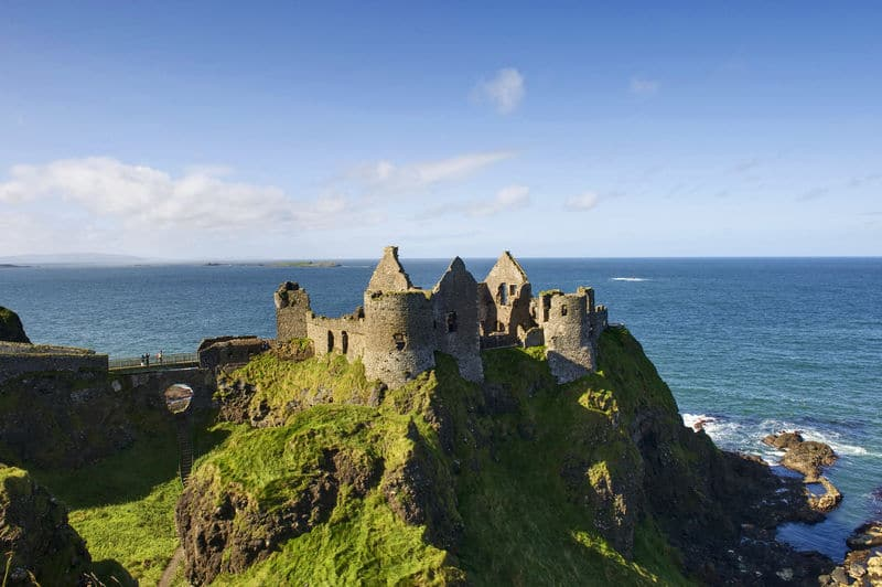 The ruins of Dunluce Castle in County Antrim