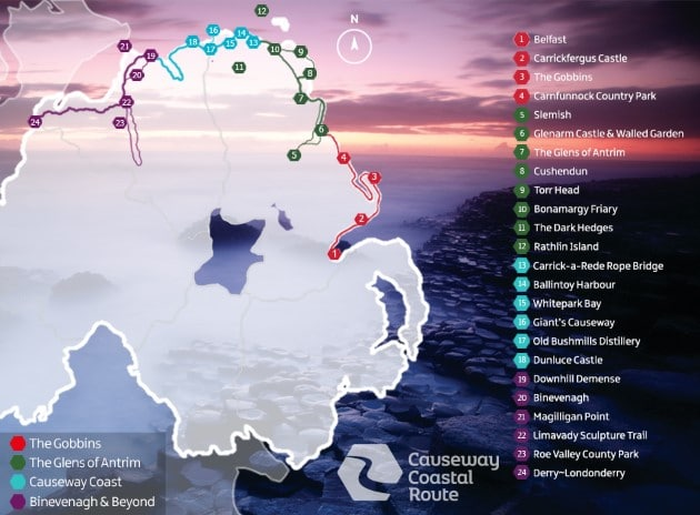 Causeway Coastal Route Map The Spectacular Causeway Coastal Route (Road Trip Itinerary) Causeway Coastal Route Map