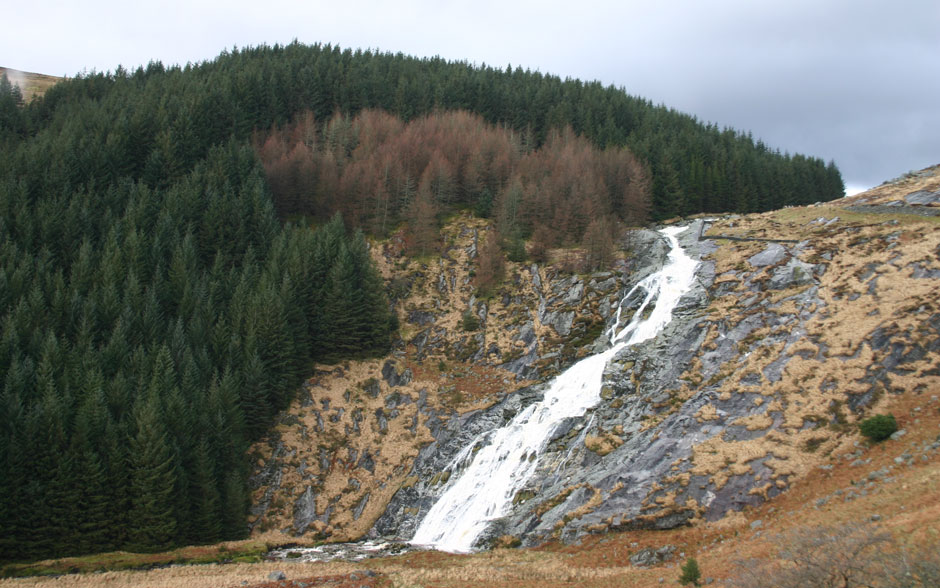 Glenmacnass Waterfall has incredible views of the Wicklow Hills.