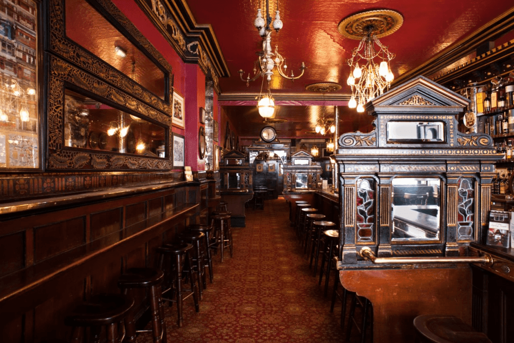 The Long Hall in Dublin serves a fine pint of Guinness
