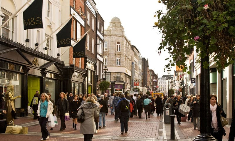 Grafton Street in Dublin's city centre is one of the most famous filming locations in Ireland.