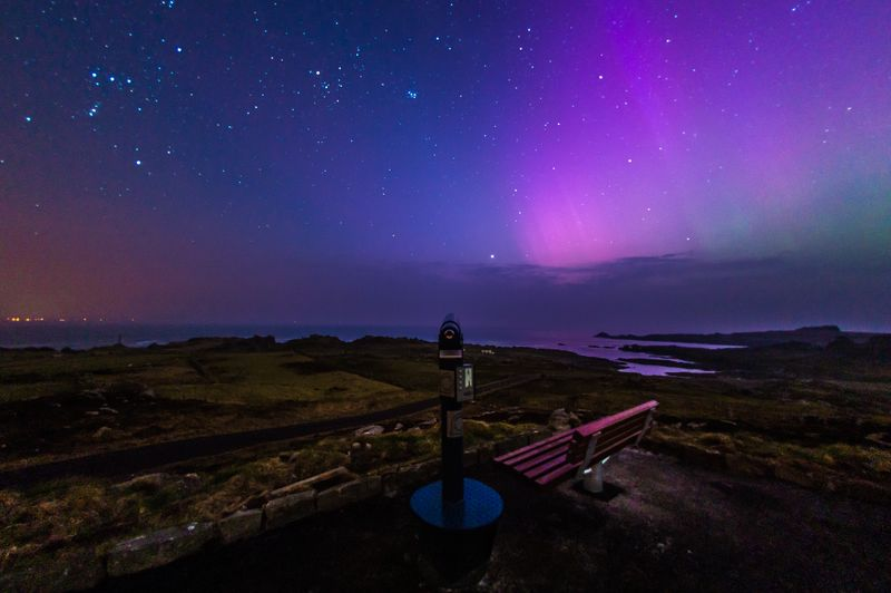 The Northern Lights can be viewed Inishowen in Donegal