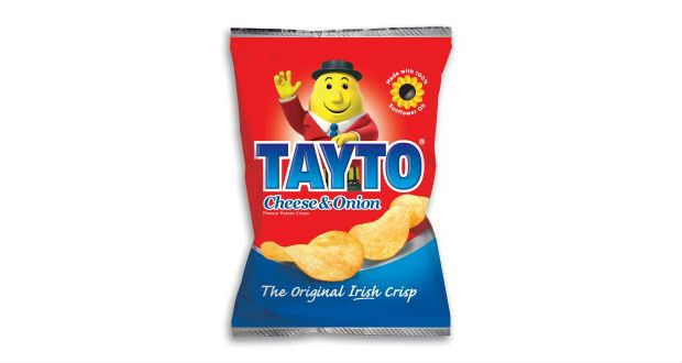 Tayto in Northern Ireland versus the Republic of Ireland - both offer cheese and onion