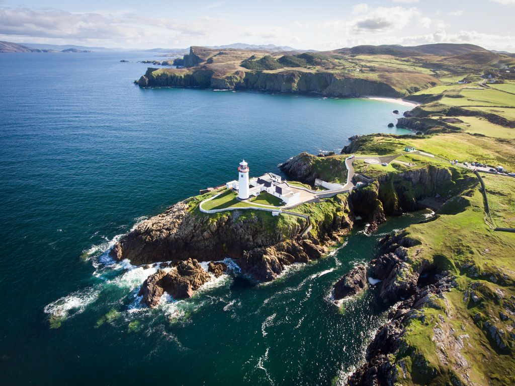 Fanad Head Lighthouse is beautiful and gives great views of the ocean.