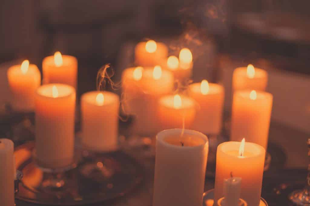 Candles were lit to guide the souls of dead family members back home during Samhain.