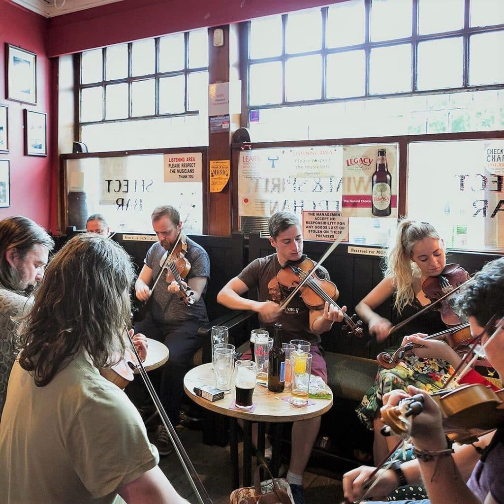 If you're looking for proper Irish tunes, check out the Cobblestone in Dublin.