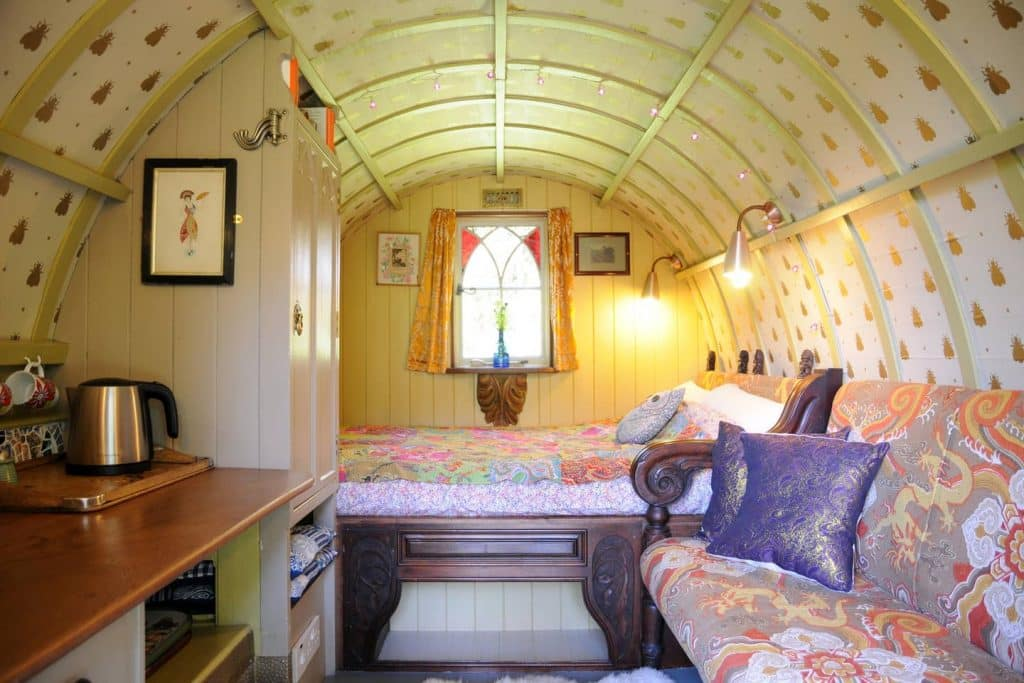This adorable gypsy wagon can be rented on Airbnb