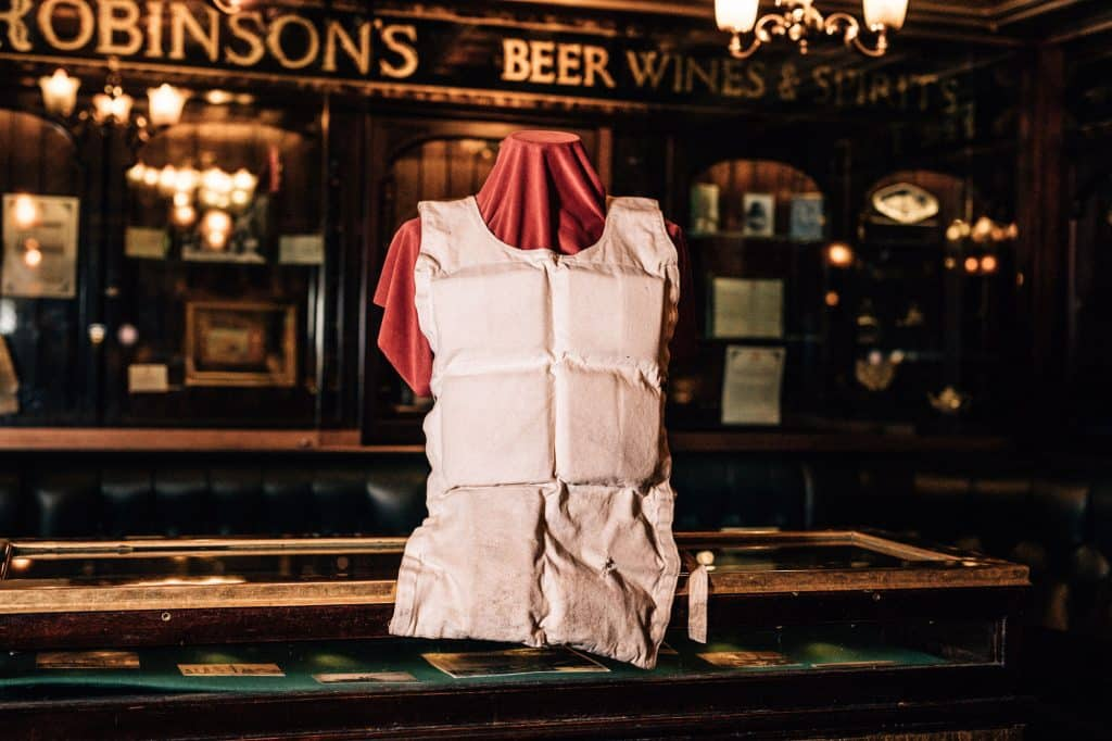 Items of Titanic memorabilia you'll find in this Belfast bar include a life jacket