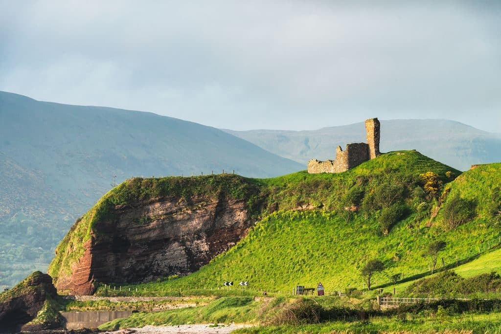 The Red Bay Castle, situated between Cushendall and Waterfoot in Northern Ireland