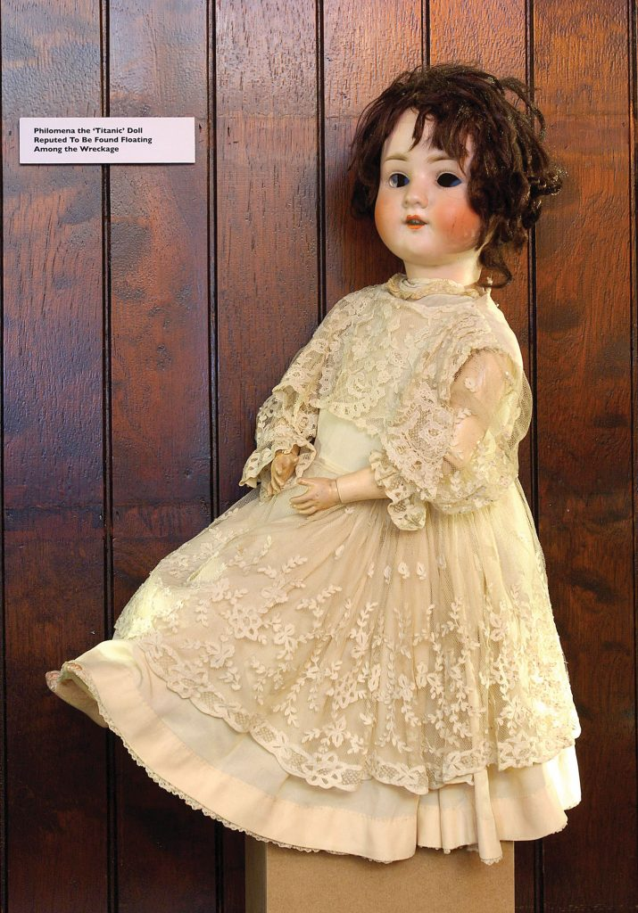 The doll Philomena is on display as Titanic memorabilia you'll find at this Belfast bar
