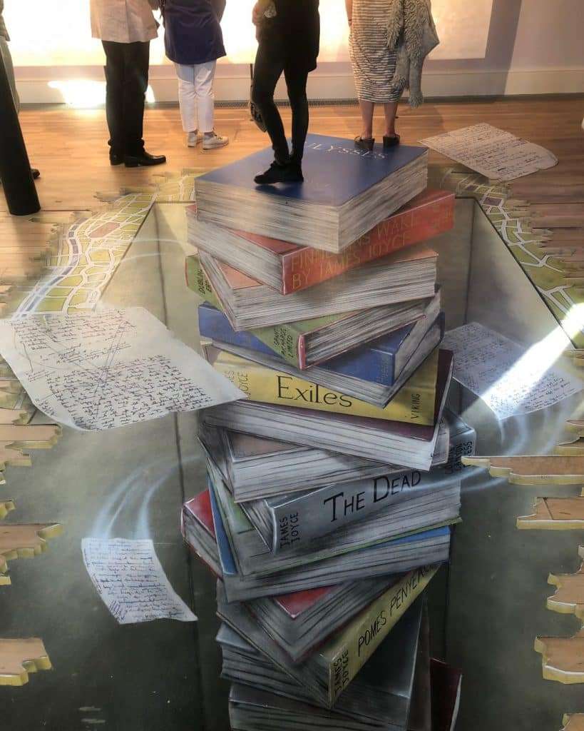 The Museum of Literature in Dublin includes a 3D floor painting of books