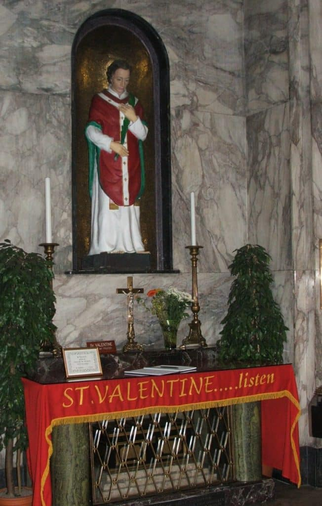 Couples often visit the shrine of the patron of love in Dublin