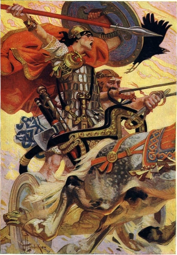 Cú Chulainn riding into battle. He was an iconic, tragic hero in Irish mythology.