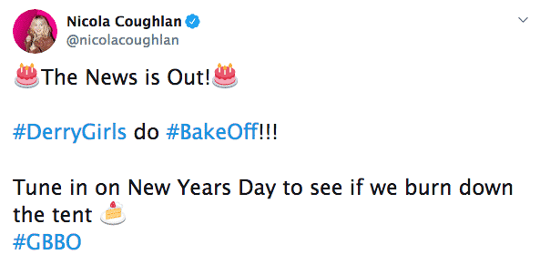 Nicola Coughlan tweeted about the news