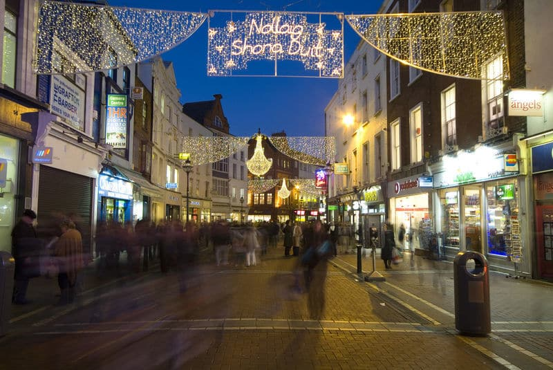 Upper Grafton Street in Dublin is lovely at Christmastime