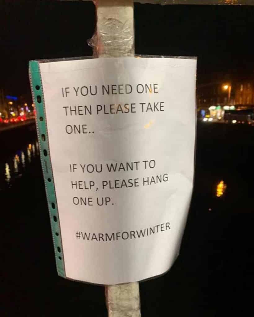 The #warmforwinter campaign aims to help the homeless in Dublin