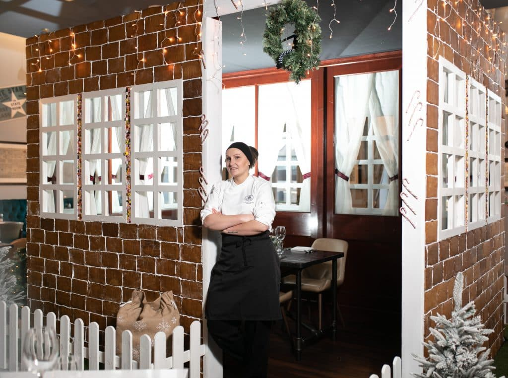 Pastry chef Magdalena Abakumiec made the gingerbread house