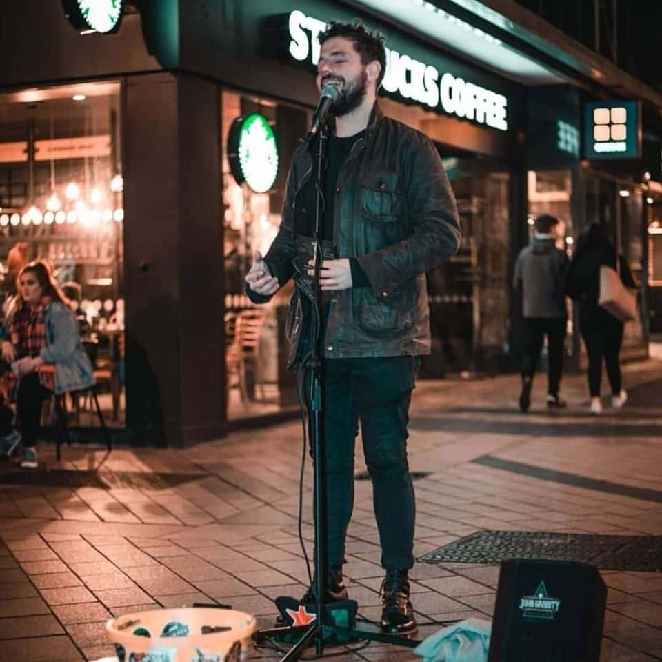 John Garrity is a Belfast busker who caught widespread attention