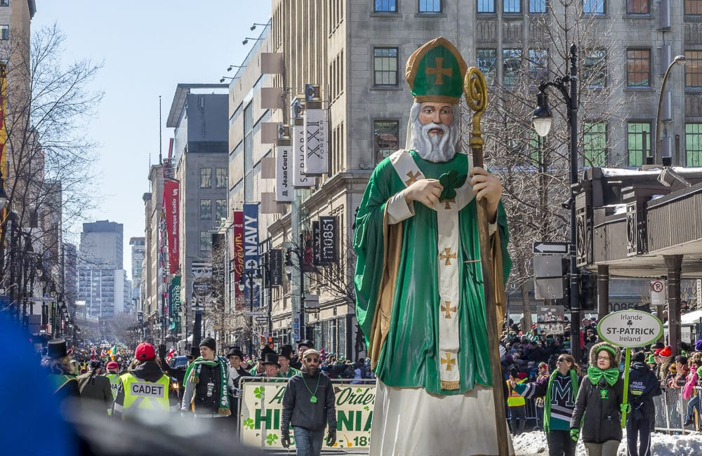 The giant replica of St. Patrick is an iconic part of the Montreal celebration, one of the largest St. Patrick's Day parades around the world.