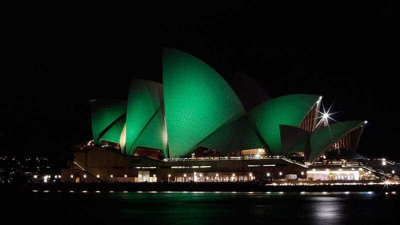 In Sydney, Australia , they light up their monuments green in St. Paddy's spirit.
