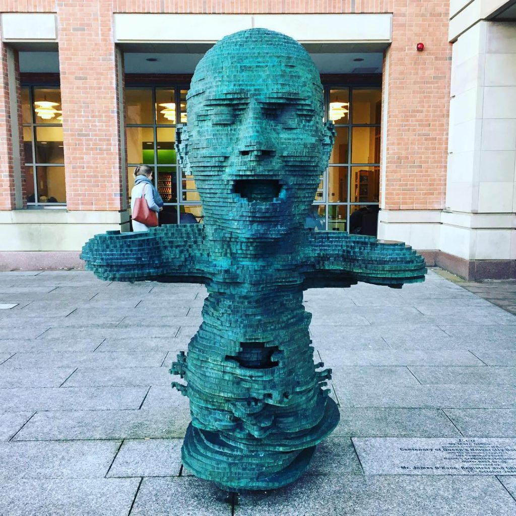 The Eco sculpture is located just outside the McClay Library at Queen's University Belfast