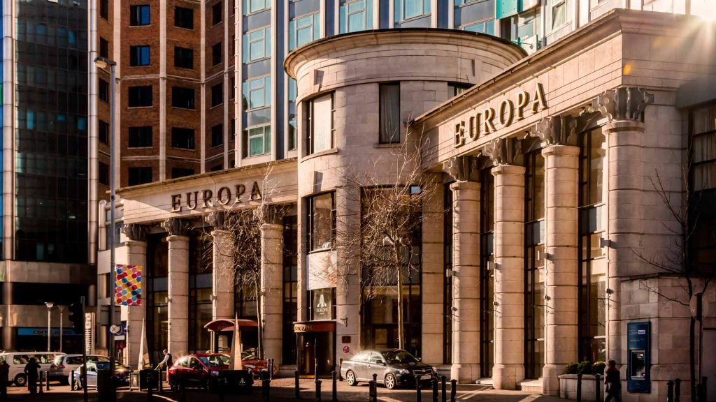 Another of the best hotels in Belfast City Centre is the Europa, the entrance alone will make you want to stay.