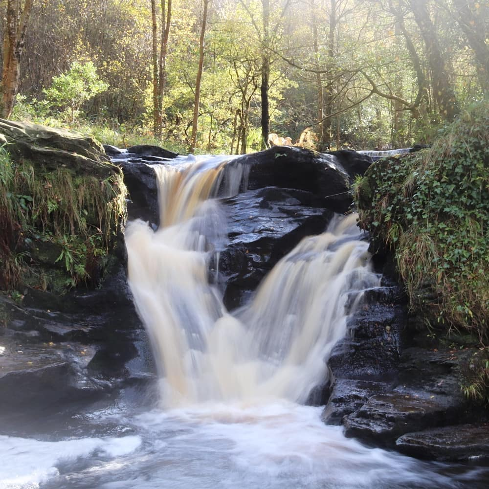 Glenbarrow Falls is a beautiful three-tiered waterfall.