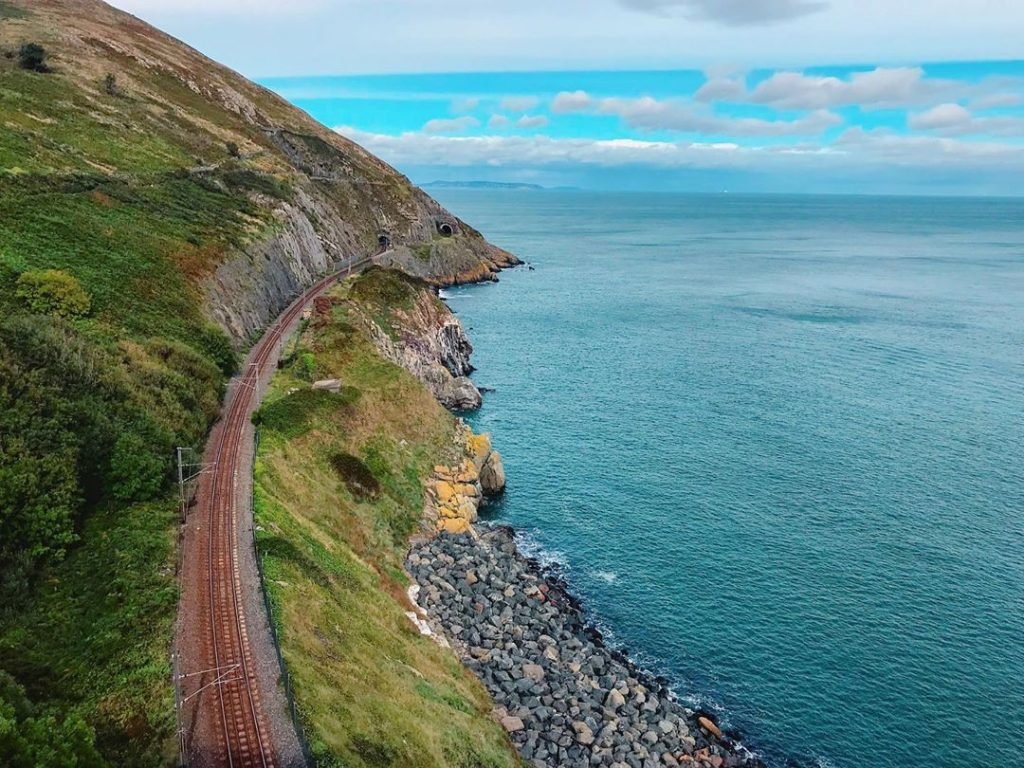 The rail journey from Howth to Greystones is spectacular