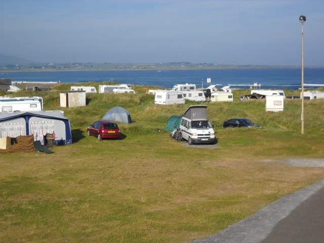 Strandhill Caravan and Camping is another of the top campervan sites in Ireland, it's got a view of mountains and beaches.