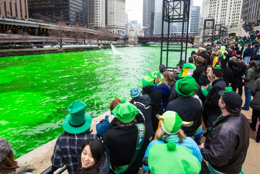 In the USA Chicago has some of the biggest St. Patrick's Day traditions around the world, they dye their river green.