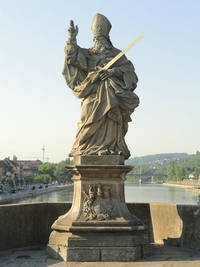 Saint Kilian was martyred in Germany, where a statue of him stands