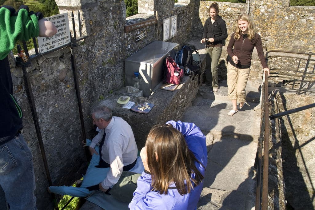 Visitors are not allowed to kiss the famed stone due to coronavirus concerns and fears.