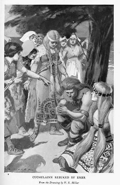 Cuchulainn and Emer are figures from Irish myth