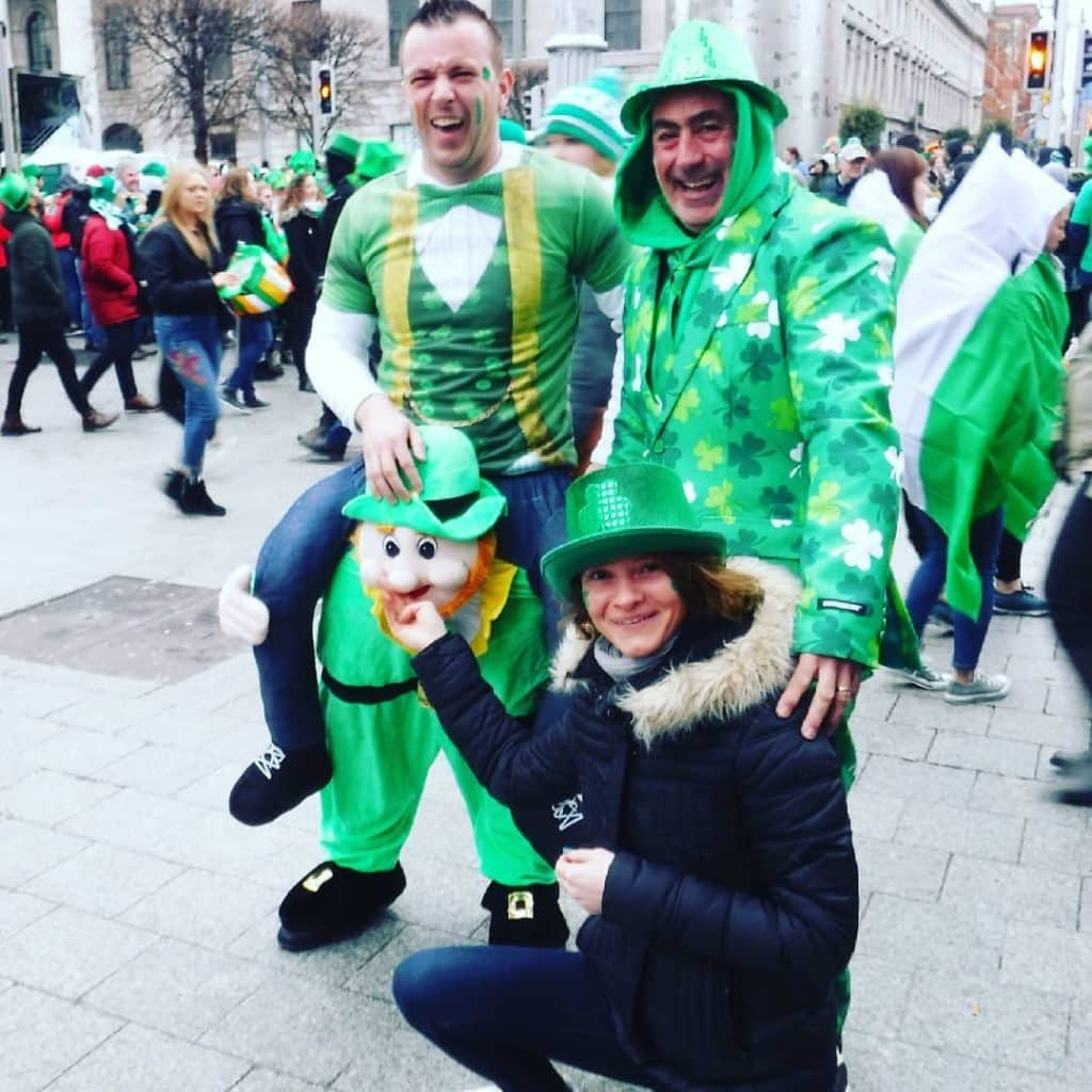 Another of the top St Patrick's Day outfits is this one in which a man is getting a piggyback from a leprechaun.