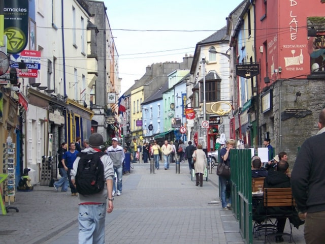 Some of Galway's best bars in Quay Street, which is visited during the Galway walking tours.