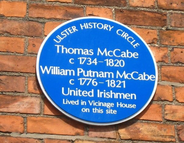 A plaque in Belfast dedicated to Thomas McCabe, the Irishman who was on the right side of slavery.