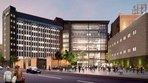 The planned redevelopment of the existing BBC Broadcasting House in Belfast.