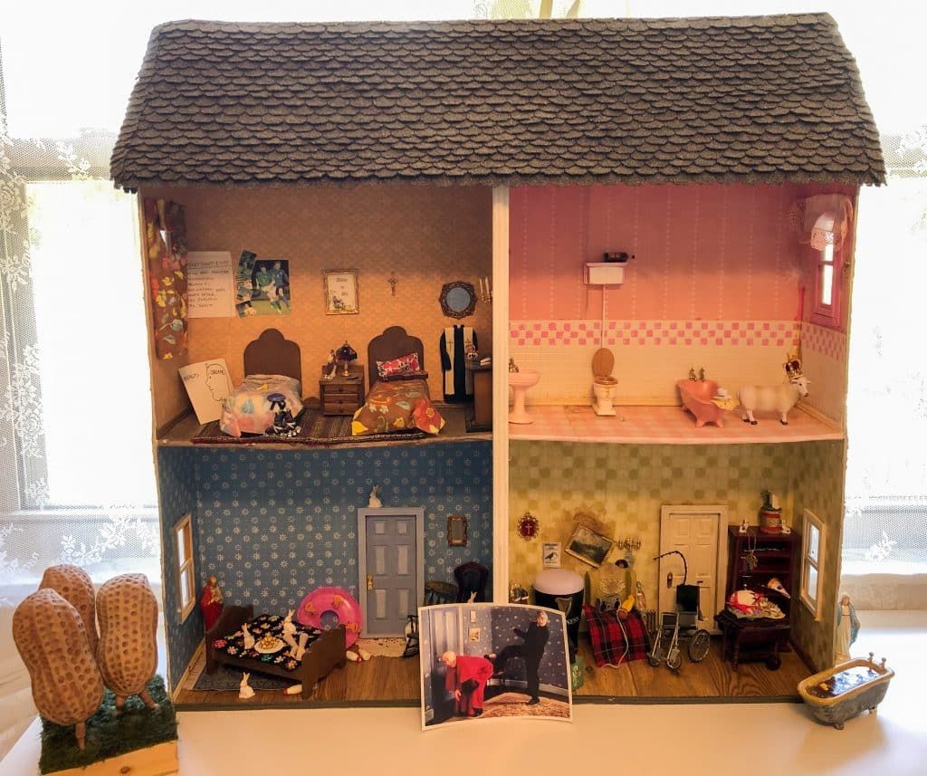 The fully-completed Father Ted dolls house.