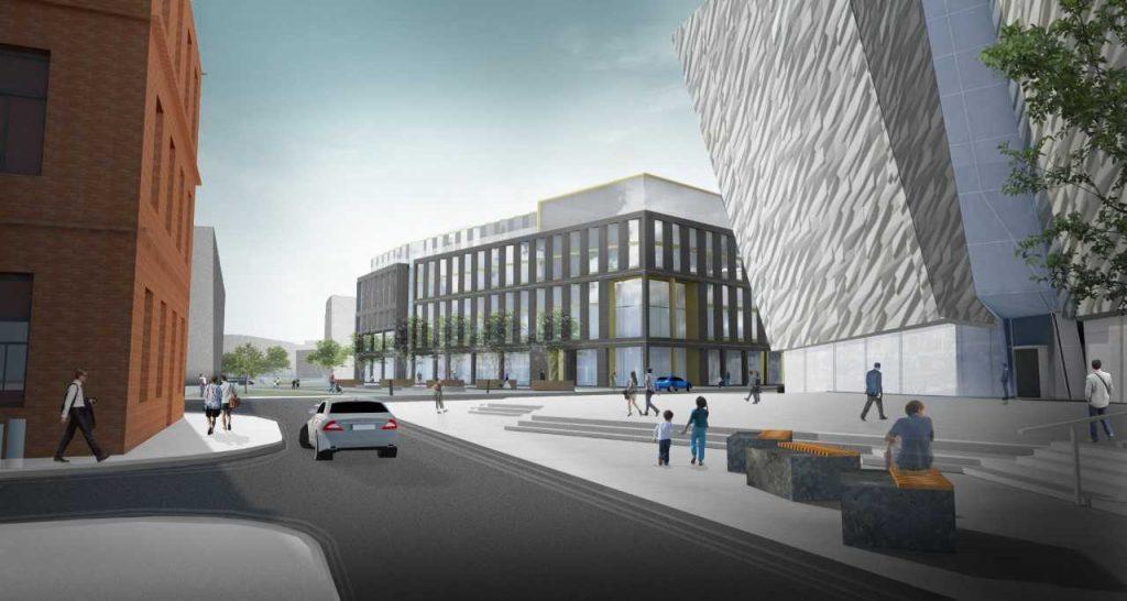 The planned development of the Hamilton Dock Hotel in Belfast's Titanic Quarter.
