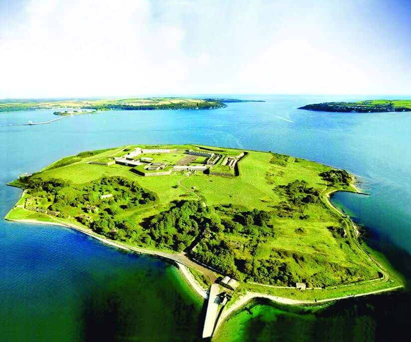 An aerial view of Spike Island in County Cork.