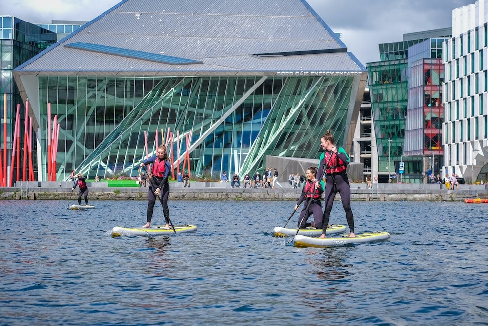The Grand Canal Dock is perfect for beginners, so start here when paddleboarding.