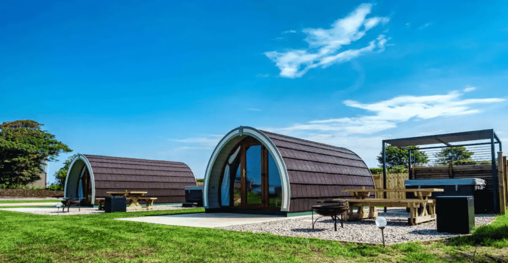 The Causeway Country Pods are more of the top Airbnbs with a hot tub and views in Northern Ireland.
