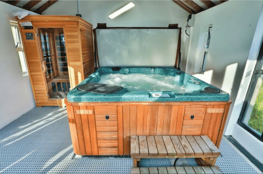 Another of the top Airbnbs with a hot tub and views in Northern Ireland is Mountain Lodge in Fermanagh.