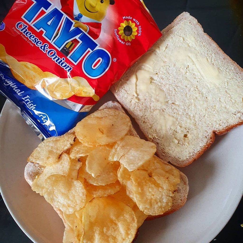 A Tayto crisp sandwich is an Irish staple.
