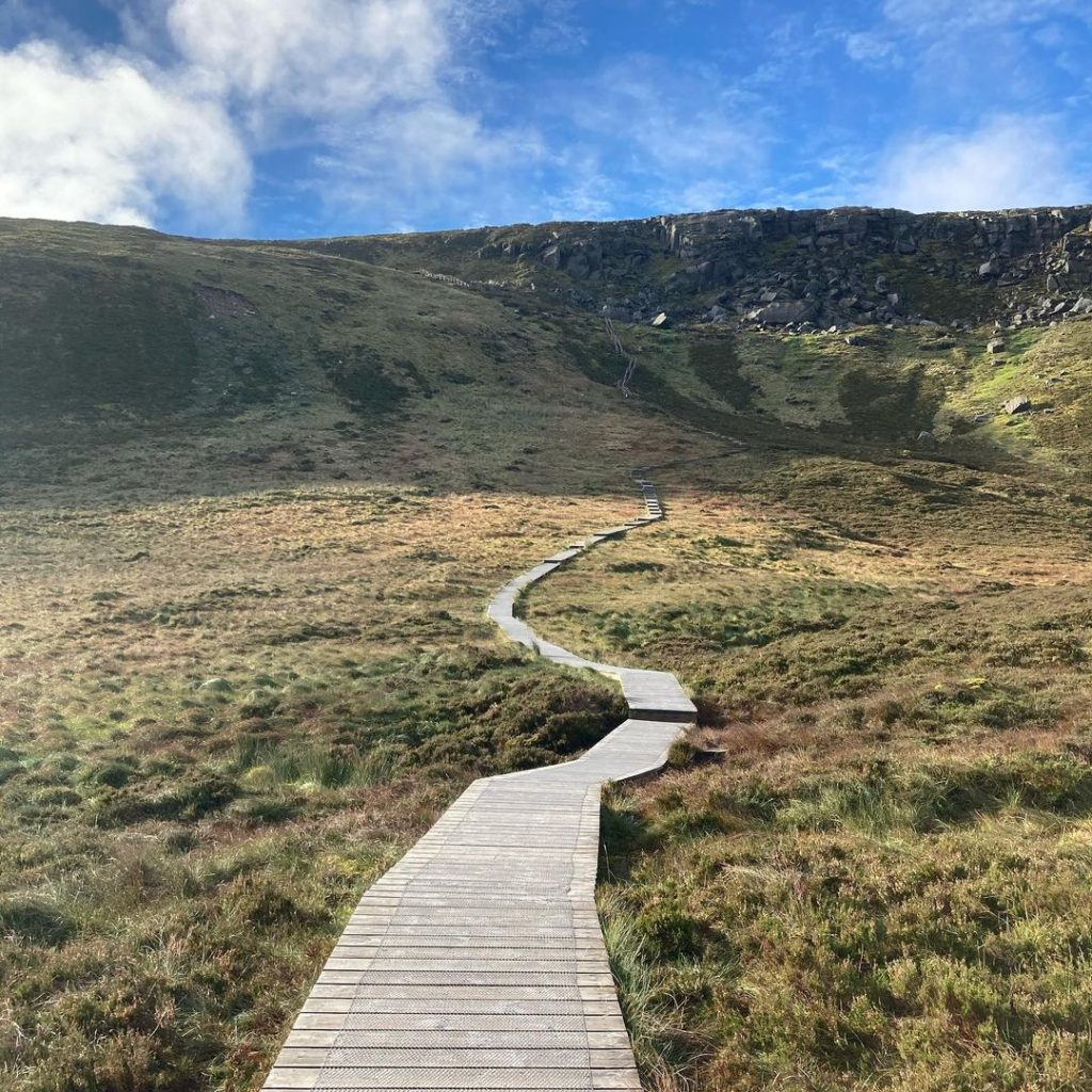 The Stairway to Heaven Ireland is made up of wooden boardwalks and a steep staircase.