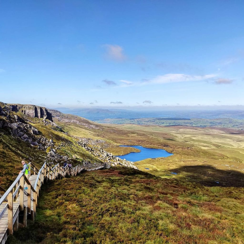 Incredible 360-degree views from the top of the Cuilcagh Boardwalk Trail.