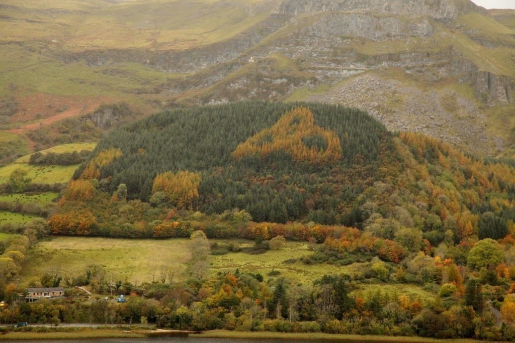 The Triquetra on the mountainside in County Sligo.