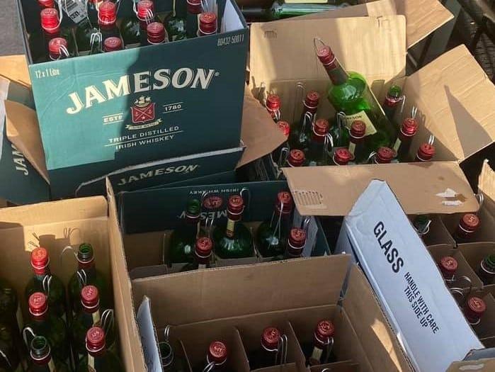 New York Irish pub creates Christmas tree out of Jameson bottles.