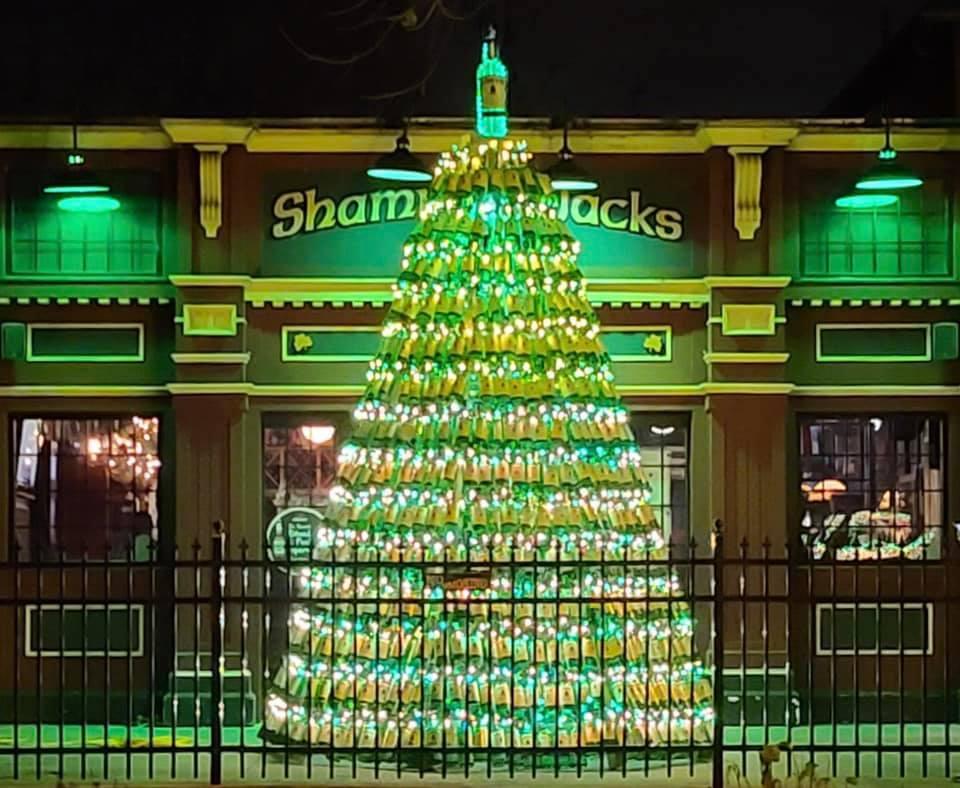 The Jameson bottle Christmas tree outside Shamrock Jack's in New York.